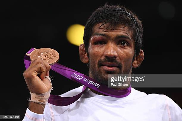 Bronze medalist Yogeshwar Dutt of India in the Men's Freestyle 60 kg Wrestling on Day 15 of the London 2012 Olympic Games at ExCeL on August 11 2012...
