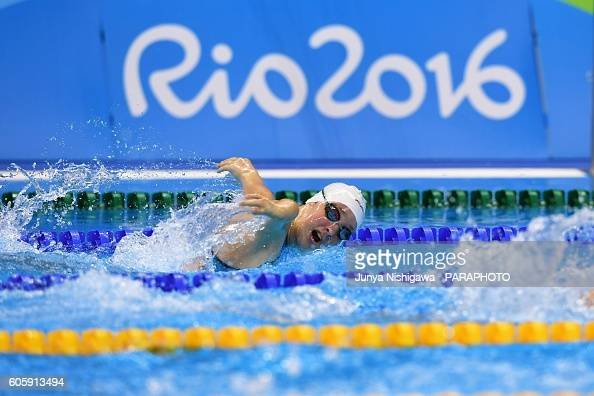 Bronze medalist Zsofia Konkoly of Hungary competes in the Women's 100m Butterfly S9 Final on day 8 of the Rio 2016 Paralympic Games at Olympic...