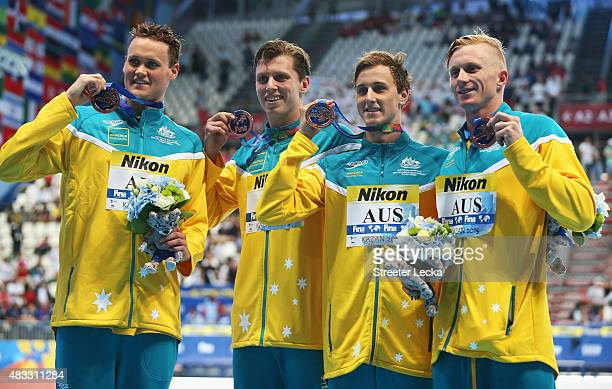 Bronze medalists Cameron McEvoy David McKeon Daniel Smith and Thomas FraserHolmes of Australia pose during the medal ceremony for the Men's 4x200m...