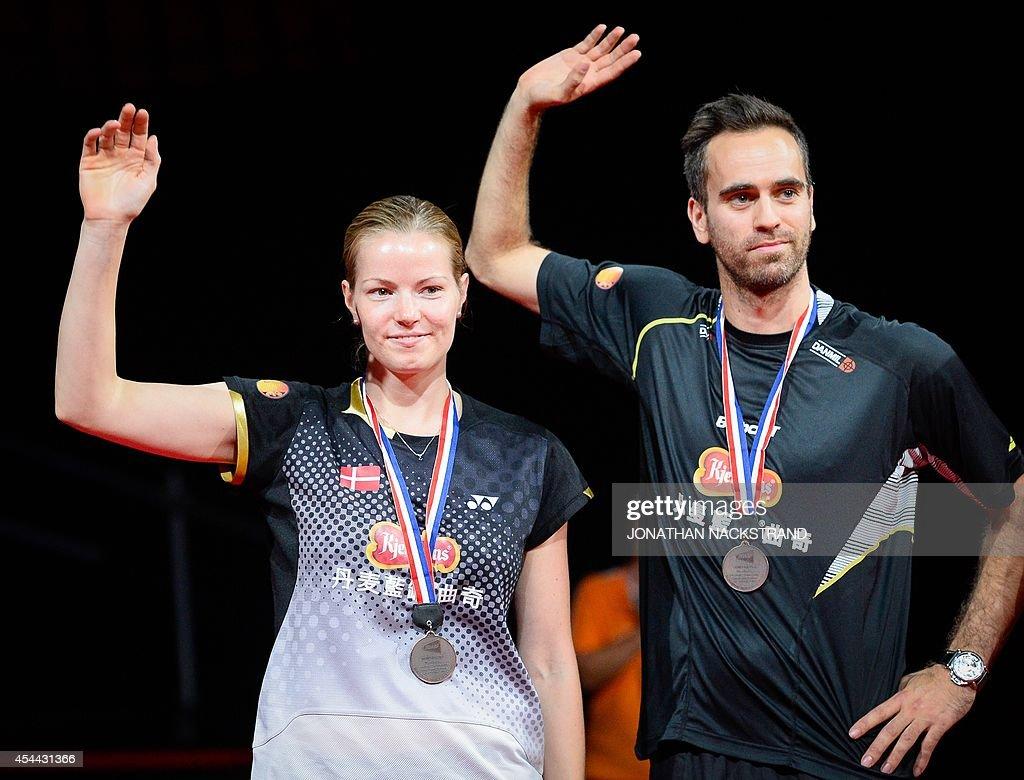 Bronze medalists Denmark s Joachim Fischer Nielsen R and