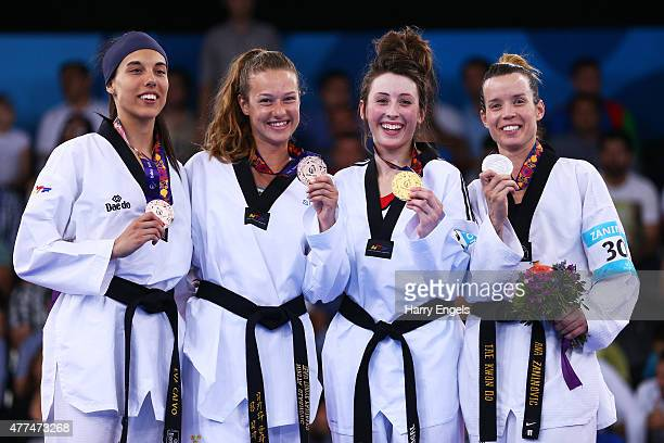 Bronze medalists Eva Carlo Gomez of Spain and Nikita Glasnovic of Sweden gold medalist Jade Jones of Great Britain and silver medalist Ana Zaninovic...