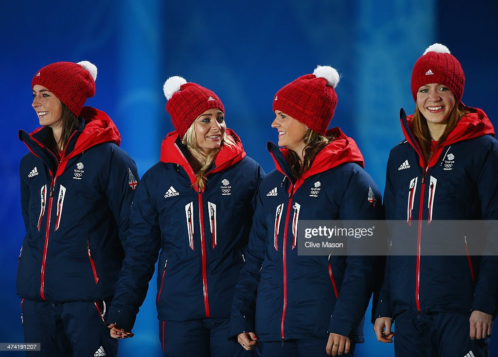 Bronze medalists Eve Muirhead Anna Sloan Vicki Adams Claire Hamilton and Lauren Gray of Great Britain celebrate during the medal ceremony for Women's...