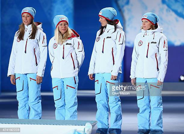 Bronze medalists Fanny WelleStrand Horn Tiril Eckhoff Ann Kristin Aafedt Flatland and Tora Berger of Norway celebrate during the medal ceremony for...