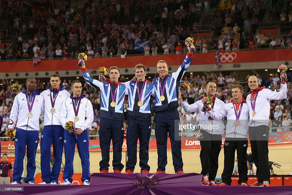 Bronze medalists <a gi-track='captionPersonalityLinkClicked' href=/galleries/search?phrase=Gregory+Bauge&family=editorial&specificpeople=217259 ng-click='$event.stopPropagation()'>Gregory Bauge</a>, <a gi-track='captionPersonalityLinkClicked' href=/galleries/search?phrase=Kevin+Sireau&family=editorial&specificpeople=686681 ng-click='$event.stopPropagation()'>Kevin Sireau</a> and <a gi-track='captionPersonalityLinkClicked' href=/galleries/search?phrase=Michael+D%27Almeida&family=editorial&specificpeople=4216164 ng-click='$event.stopPropagation()'>Michael D'Almeida</a> of France, gold medalists Philip Hindes, <a gi-track='captionPersonalityLinkClicked' href=/galleries/search?phrase=Jason+Kenny&family=editorial&specificpeople=4167086 ng-click='$event.stopPropagation()'>Jason Kenny</a> and Sir <a gi-track='captionPersonalityLinkClicked' href=/galleries/search?phrase=Chris+Hoy&family=editorial&specificpeople=171259 ng-click='$event.stopPropagation()'>Chris Hoy</a> of Great Britain and bronze medalists Robert Forstemann, <a gi-track='captionPersonalityLinkClicked' href=/galleries/search?phrase=Rene+Enders&family=editorial&specificpeople=5430447 ng-click='$event.stopPropagation()'>Rene Enders</a> and <a gi-track='captionPersonalityLinkClicked' href=/galleries/search?phrase=Maximilian+Levy&family=editorial&specificpeople=686203 ng-click='$event.stopPropagation()'>Maximilian Levy</a> of Germany celebrate with their medals during the medal ceremony after setting a new world record in the Men's Team Sprint Track Cycling final on Day 6 of the London 2012 Olympic Games at Velodrome on August 2, 2012 in London, England.