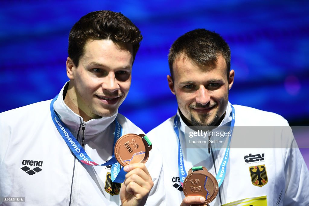 Bronze medalists Patrick Hausding and Sascha Klein of Germany pose with the medals won during the Men's Diving 10M Synchro Platform final on day four of the Budapest 2017 FINA World Championships on July 17, 2017 in Budapest, Hungary.