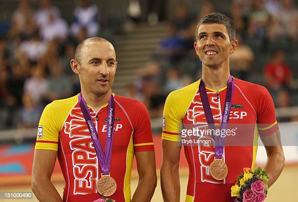 Bronze medalists Pilot Diego Javier Munoz and Miguel Angel Clemente Solano of Spain pose on the podium during the victory ceremony for the Men's...