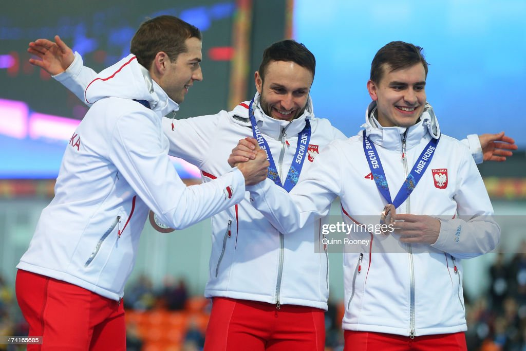 Bronze medalists Poland celebrate during the medal ceremony for the Speed Skating Men's Team Pursuit on day fifteen of the Sochi 2014 Winter Olympics at at Adler Arena Skating Center on February 22, 2014 in Sochi, Russia.