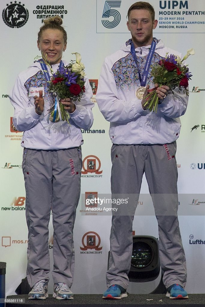Bronze medalists Prokopenko Anastasiya and Palazkov Ilya from Belarus during celebration ceremony at the mixed relay World Championship in modern pentathlon in Moscow in Olympic Sports Complex in Moscow, Russia, on May 29, 2016.