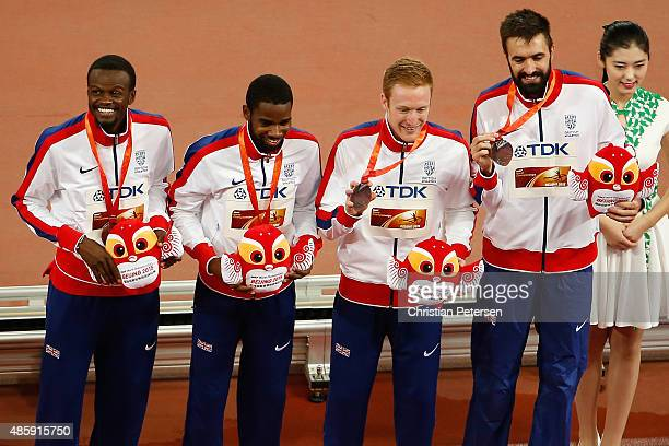 Bronze medalists Rabah Yousif of Great Britain Delanno Williams of Great Britain Jarryd Dunn of Great Britain and Martyn Rooney of Great Britain...