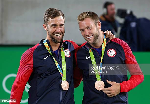 Bronze medalists Steve Johnson and Jack Sock of the United States stand on the podium after the Men's Doubles competition on Day 7 of the Rio 2016...