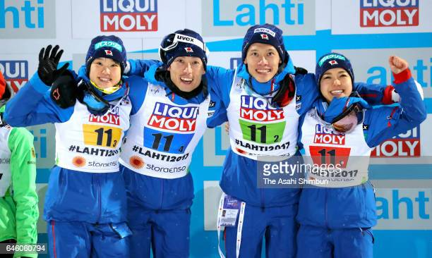 Bronze medalists Yuki Ito Daiki ItoTaku Takeuchi and Sara Takanashi of Japan celebrate their bronze medal in the Mixed Team HS100 Normal Hill Ski...