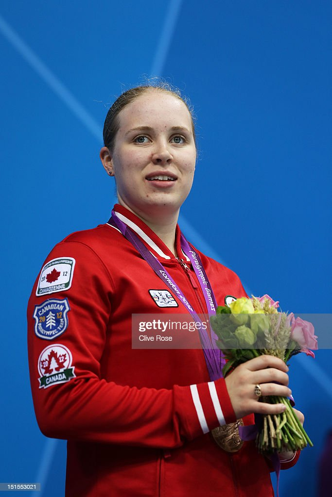 Bronze medallist Amber Thomas of Canada poses on the podium during the medal ceremony for the Women's 200m Individual Medley - SM11 final on day 10 of the London 2012 Paralympic Games at Aquatics Centre on September 8, 2012 in London, England.