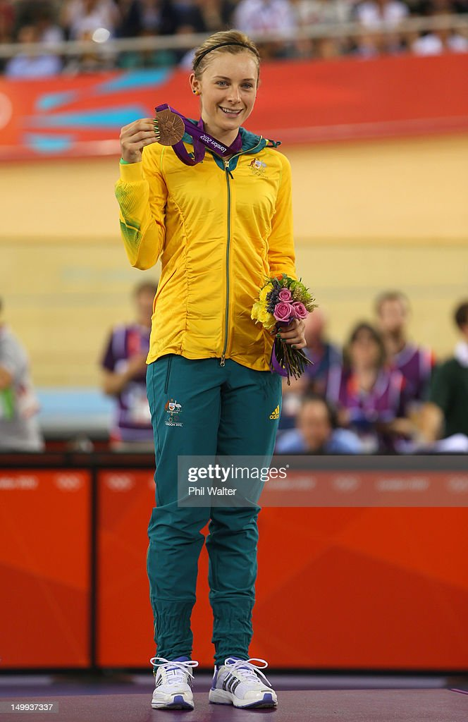 Bronze Medallist <a gi-track='captionPersonalityLinkClicked' href=/galleries/search?phrase=Annette+Edmondson&family=editorial&specificpeople=4872666 ng-click='$event.stopPropagation()'>Annette Edmondson</a> of Australia celebrates during the medal ceremony for the Women's Omnium Track Cycling on Day 11 of the London 2012 Olympic Games at Velodrome on August 7, 2012 in London, England.