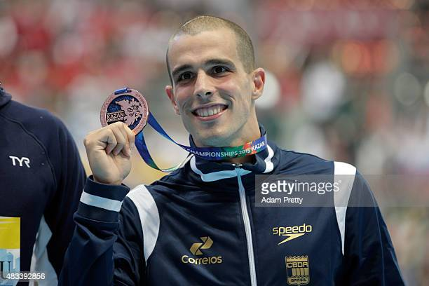 Bronze medallist Bruno Fratus of Brazil poses during the medal ceremony for the Men's 50m Freestyle Final on day fifteen of the 16th FINA World...