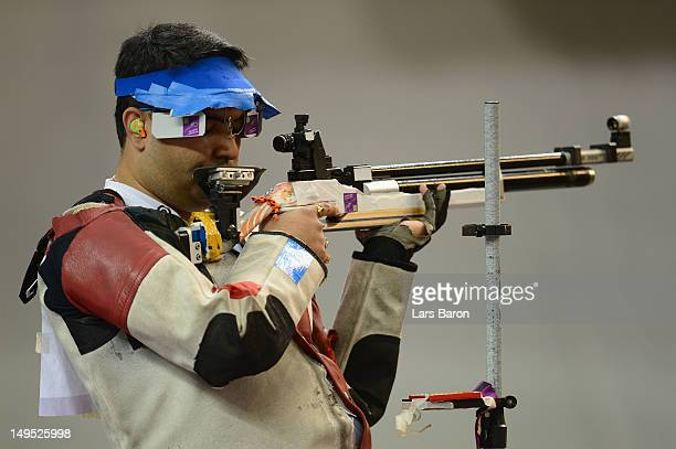 Bronze medallist Gagan Narang of India competes in the Men's 10m Air Rifle Shooting final on Day 3 of the London 2012 Olympic Games at The Royal...