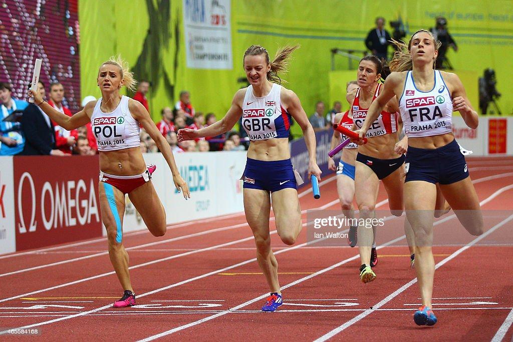 Bronze medallist Justyna Swiety of Poland Sliver medallist Kirsten McAslan of Great Britain Northern Ireland and gold medallist Marie Gayot of France...