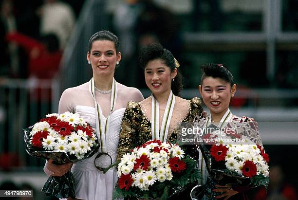 Bronze Medallist Nancy Kerrigan of the United States Gold Medallist Kristi Yamaguchi of the United States and Silver Medallist Midori Ito of Japan...
