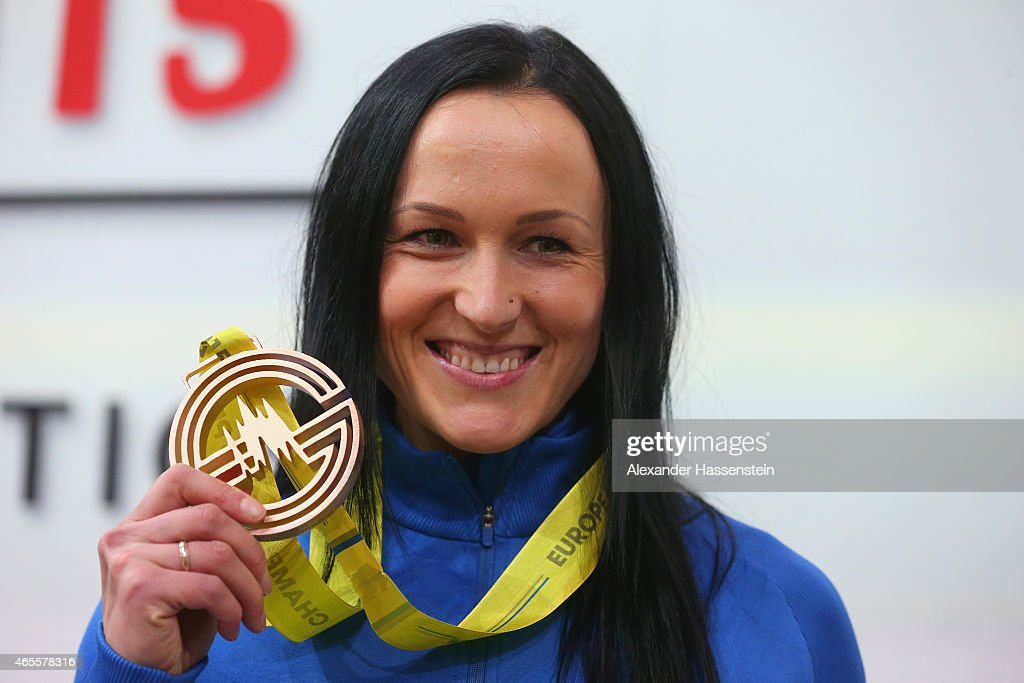 Bronze medallist Nataliya Lupu of Ukraine on the podium during the medal ceremony for Women's 800 metres during day three of the 2015 European Athletics Indoor Championships at O2 Arena on March 8, 2015 in Prague, Czech Republic.