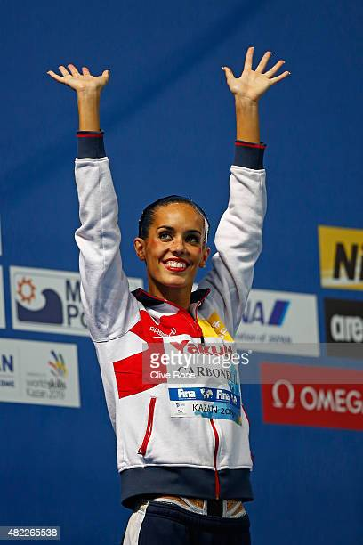 Bronze medallist Ona Carbonell of Spain looks on during the medal ceremony for the Women's Solo Free Synchronised Swimming Final on day five of the...