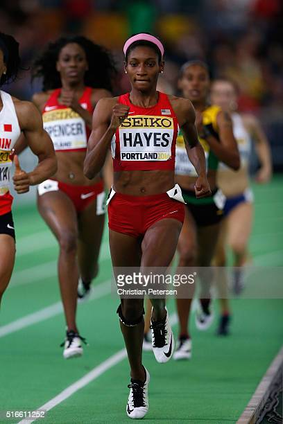 Bronze medallist Quanera Hayes of the United States competes in the Women's 400 Metres Final during day three of the IAAF World Indoor Championships...