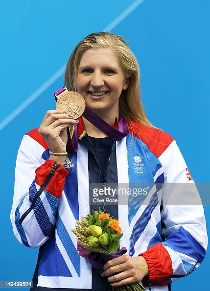 Bronze medallist Rebecca Adlington of Great Britain poses on the podium during the medal ceremony following the Women's 400m Freestyle final on Day 2...