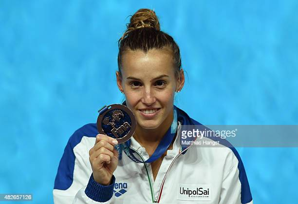Bronze medallist Tania Cagnotto of Italy poses during the medal ceremony for the Women's 3m Springboard Diving Final on day eight of the 16th FINA...