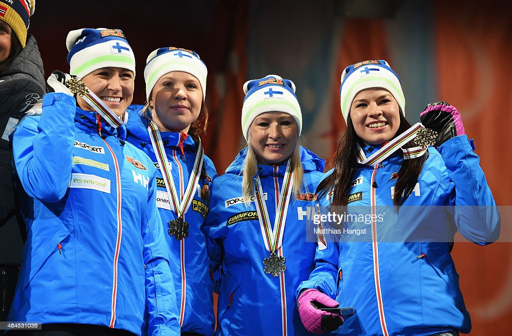 Bronze medallists <a gi-track='captionPersonalityLinkClicked' href=/galleries/search?phrase=Aino-Kaisa+Saarinen&family=editorial&specificpeople=769322 ng-click='$event.stopPropagation()'>Aino-Kaisa Saarinen</a>, <a gi-track='captionPersonalityLinkClicked' href=/galleries/search?phrase=Kerttu+Niskanen&family=editorial&specificpeople=7526325 ng-click='$event.stopPropagation()'>Kerttu Niskanen</a>, <a gi-track='captionPersonalityLinkClicked' href=/galleries/search?phrase=Riitta-Liisa+Roponen&family=editorial&specificpeople=4173513 ng-click='$event.stopPropagation()'>Riitta-Liisa Roponen</a> and Krista Parmakoski of Finland celebrate during the medal ceremony for the Women's 4 x 5km Cross-Country Relay during the FIS Nordic World Ski Championships at the Lugnet venue on February 26, 2015 in Falun, Sweden.