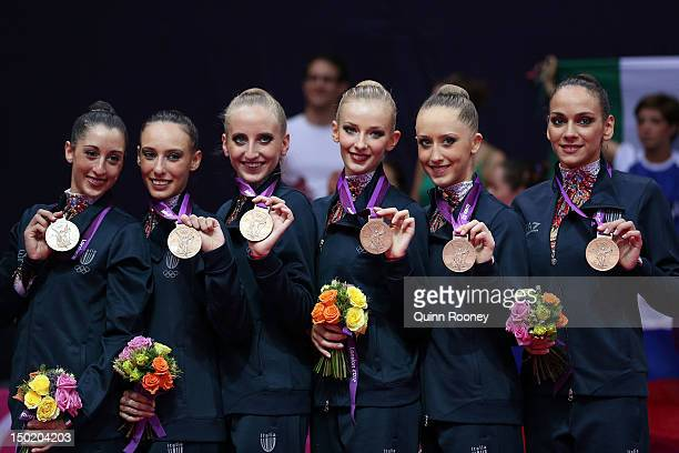 Bronze medallists Elisa Blanchi Romina Laurito Marta Pagnini Andreea Stefanescu Anzhelika Savrayuk and Elisa Santoni of Italy celebrate during the...