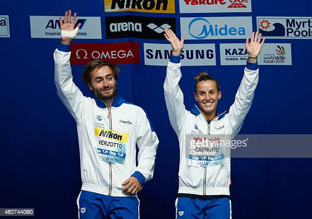 Bronze medallists Tania Cagnotto and Maicol Verzotto of Italy celebrate during the medal ceremony for the 3m Springboard Synchronised Mixed Diving...