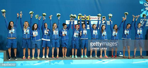 Bronze medallists Team Italy pose during the medal ceremony for the Women's Water Polo on day fourteen of the 16th FINA World Championships at the...