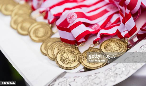 Bronze medals for the players of FC Midtjylland after the Danish Alka Superliga match between FC Midtjylland and Lyngby BK at MCH Arena on May 28...