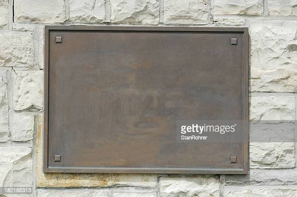 Bronze Placa comemorativa na parede de Pedra