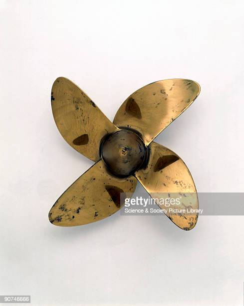 Bronze model representing one of the four bladed screw propellers made by the Manganese Bronze and Brass Company for the famous quadruplescrew Cunard...