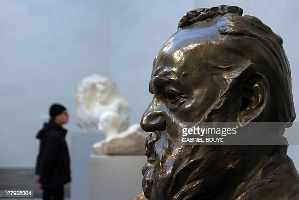 A bronze of French writer Victor Hugo by French sculptor Auguste Rodin is displayed at the California Palace of the Legion of Honor's museum in San...