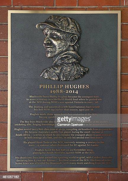 A bronze plaque tributing the late Australian cricketer Phillip Hughes is mounted on the wall outside the Australian team dressing room in the...