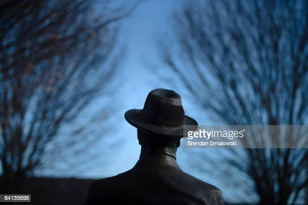 A bronze sculpture by Robert Graham of Franklin Delano Roosevelt the 32nd US President is seen at the Roosevelt Memorial December 29 2008 in...