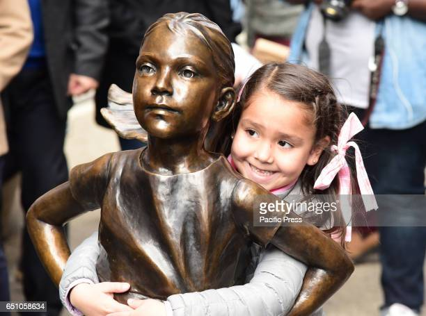 A bronze statue entitled 'Fearless Girl' by sculptor Kristen Visbal was officially unveiled in Lower Manhattan placed opposite the iconic Wall Street...