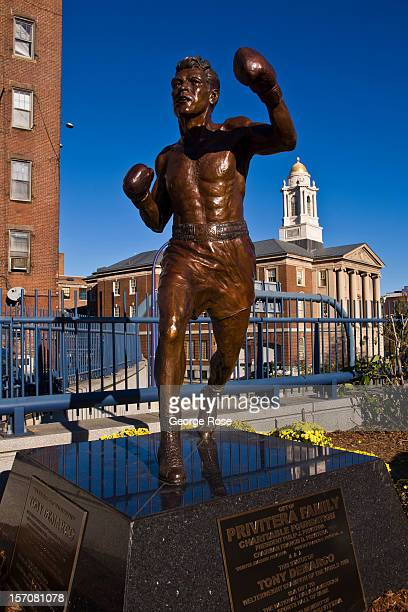 A bronze statue in memory of boxer Tony DeMarco is located in the North End on November 4 2012 in Boston Massachusetts Despite a global recession...