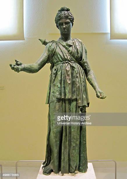 Bronze statue of Artemis mid4th century BC school of Praxiteles Archaeological Museum Piraeus Greece