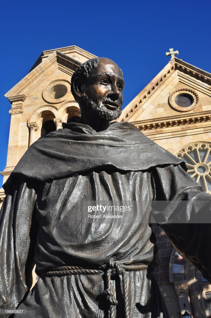 A bronze statue of Saint Francis of Assisi stands in front of the Cathedral Basilica of Saint Francis of Assisi in Santa Fe, New Mexico. (Photo by Robert Alexander/Archive Photos/Getty Images) 5104602RA_SantaFe175.jpg