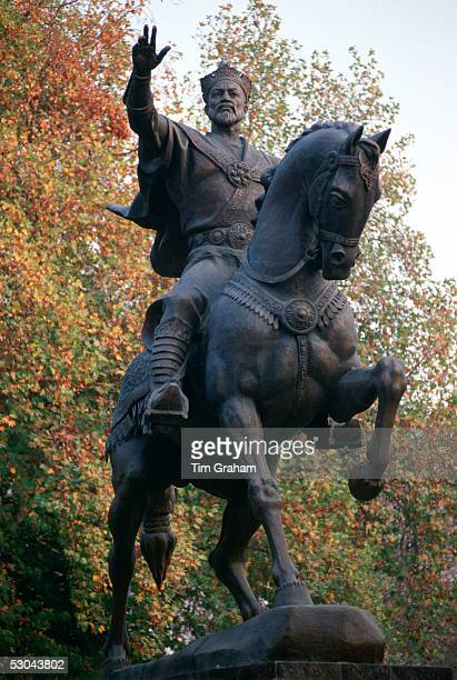 Bronze statue of Tamerlane on his horse in Tashkent Uzbekistan