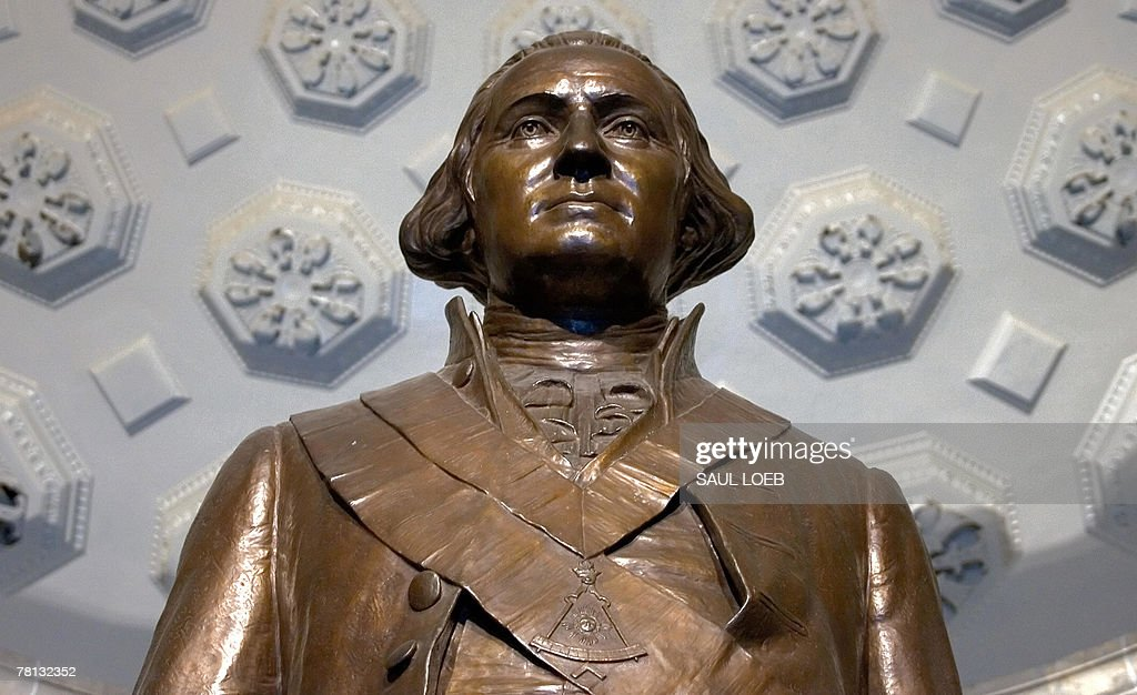 A bronze statue of the first US President and a member of the Freemasons George Washington stands in Memorial Hall at the George Washington Masonic...