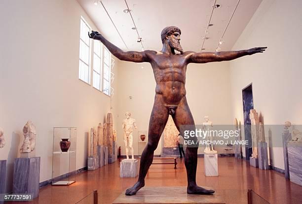 Bronze statue of Zeus or Poseidon 460 BC discovered off Cape Artemisium in Euboea Greece Greek civilisation 5th century BC Athens Ethnikó Arheologikó...