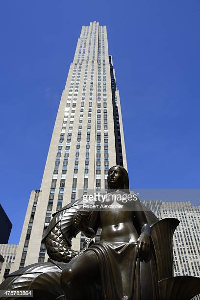 A bronze statue titled 'Maiden' stands in the plaza in front of the GE Building in Rockefeller Center in midtown Mahnattan in New York New York The...