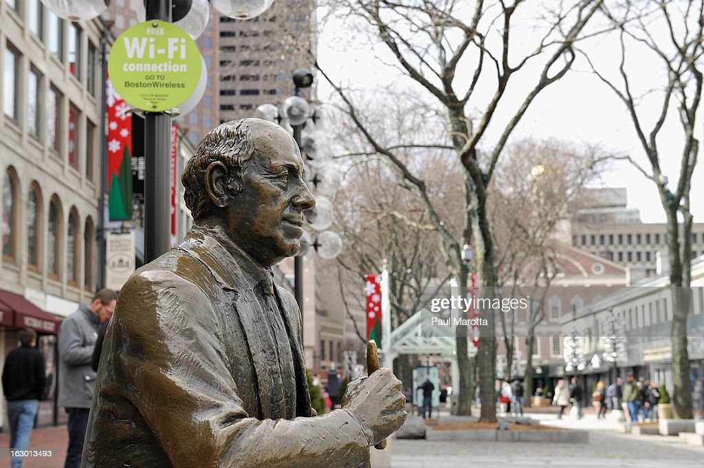 Bronze statue tribute to Boston Celtics coach and president Red Auerbach in Boston's Faneuil Hall Market on March 3, 2013 in Boston.
