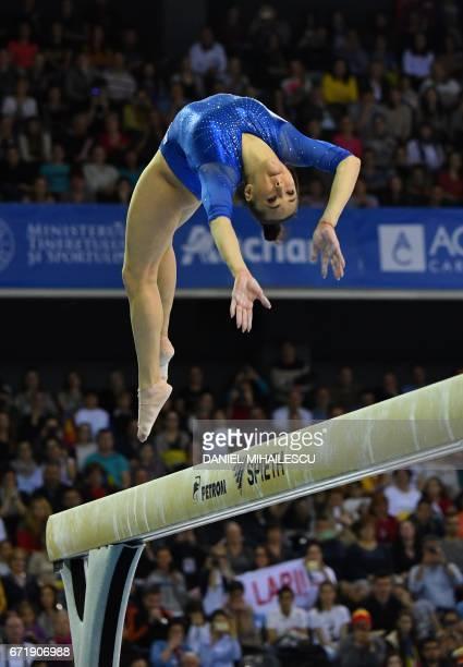 Bronze winner Larisa Andreea Iordache of Romania performs on the balance beam of apparatus final for the European Artistic Gymnastics Championship in...
