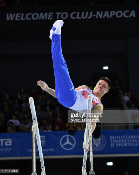 Bronze winner Nikita Nagornyy of Russia performs on parallel bars of apparatus final for the European Artistic Gymnastics Championship in Cluj Napoca...