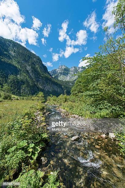 Brook in front of the Watzmann massif, St. Bartholoma in Konigssee, Berchtesgaden National Park, Berchtesgadener Land district, Upper Bavaria, Bavaria, German