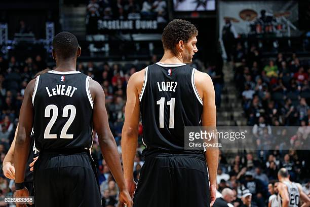 Brook Lopez and Caris LeVert of the Brooklyn Nets look on during the game against the San Antonio Spurs on December 10 2016 at the ATT Center in San...