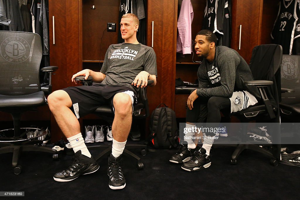 Brook Lopez and Darius Morris of the Brooklyn Nets get ready before Game Three of the Eastern Conference Quarterfinals against the Atlanta Hawks...